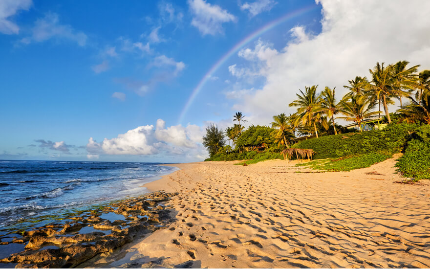 oahu beach with rainbow