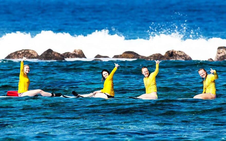 Group surf lesson Kahaluu Surf and Sea